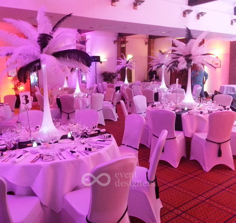 Feather tower table centres