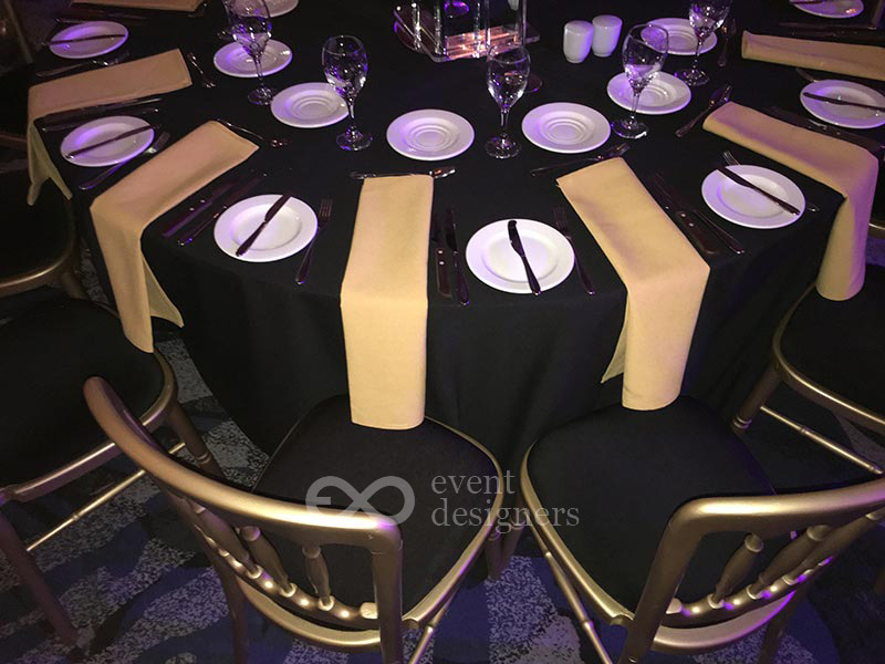 Gold chairs and linens