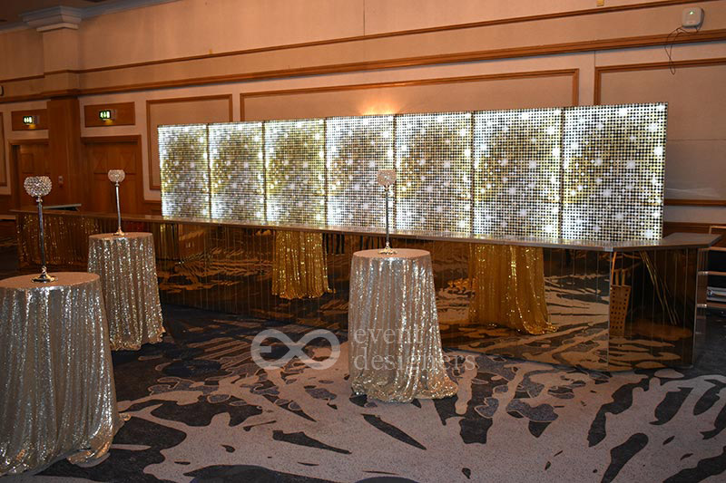 Gold mirror bar with shimmer backdrop
